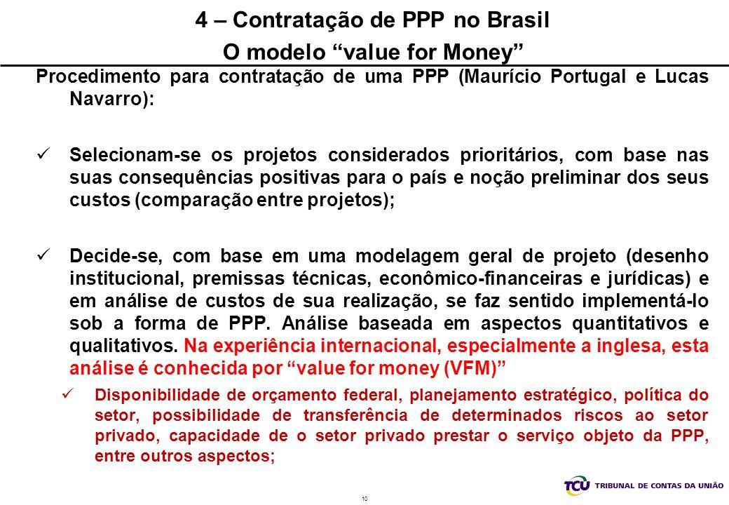 10 4 – Contratação de PPP no Brasil O modelo value for Money Procedimento para contratação de uma PPP (Maurício Portugal e Lucas Navarro): Selecionam-