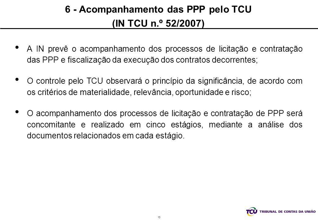 13 6 - Acompanhamento das PPP pelo TCU (IN TCU n.º 52/2007) A IN prevê o acompanhamento dos processos de licitação e contratação das PPP e fiscalização da execução dos contratos decorrentes; O controle pelo TCU observará o princípio da significância, de acordo com os critérios de materialidade, relevância, oportunidade e risco; O acompanhamento dos processos de licitação e contratação de PPP será concomitante e realizado em cinco estágios, mediante a análise dos documentos relacionados em cada estágio.