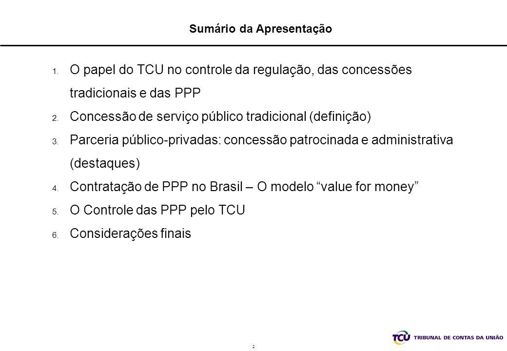 2 Sumário da Apresentação 1. O papel do TCU no controle da regulação, das concessões tradicionais e das PPP 2. Concessão de serviço público tradiciona
