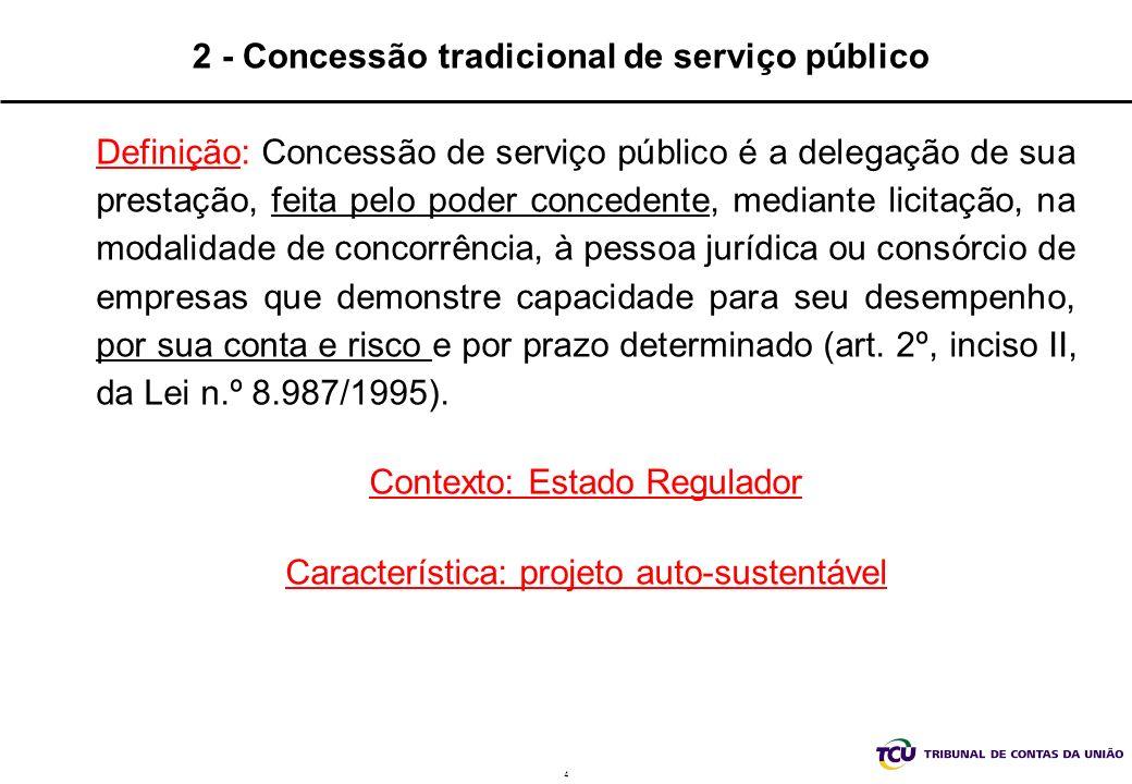 4 2 - Concessão tradicional de serviço público Definição: Concessão de serviço público é a delegação de sua prestação, feita pelo poder concedente, me