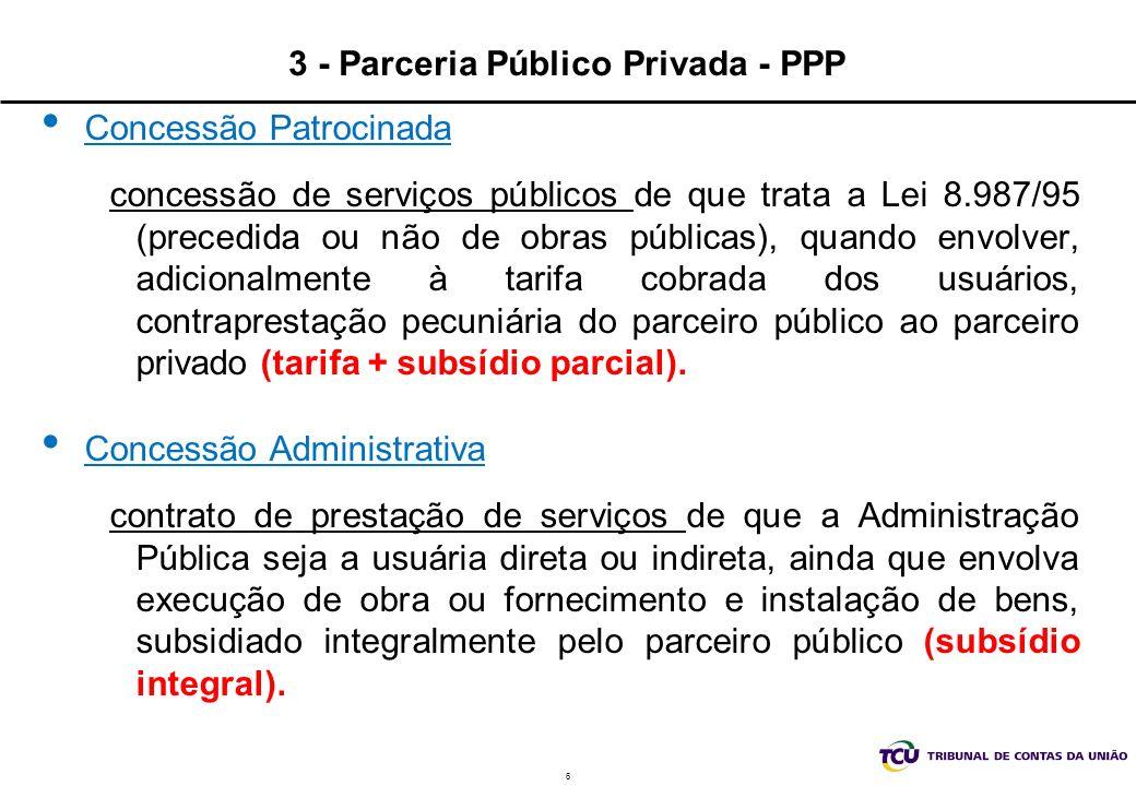 6 3 - Parceria Público Privada - PPP Concessão Patrocinada concessão de serviços públicos de que trata a Lei 8.987/95 (precedida ou não de obras públi