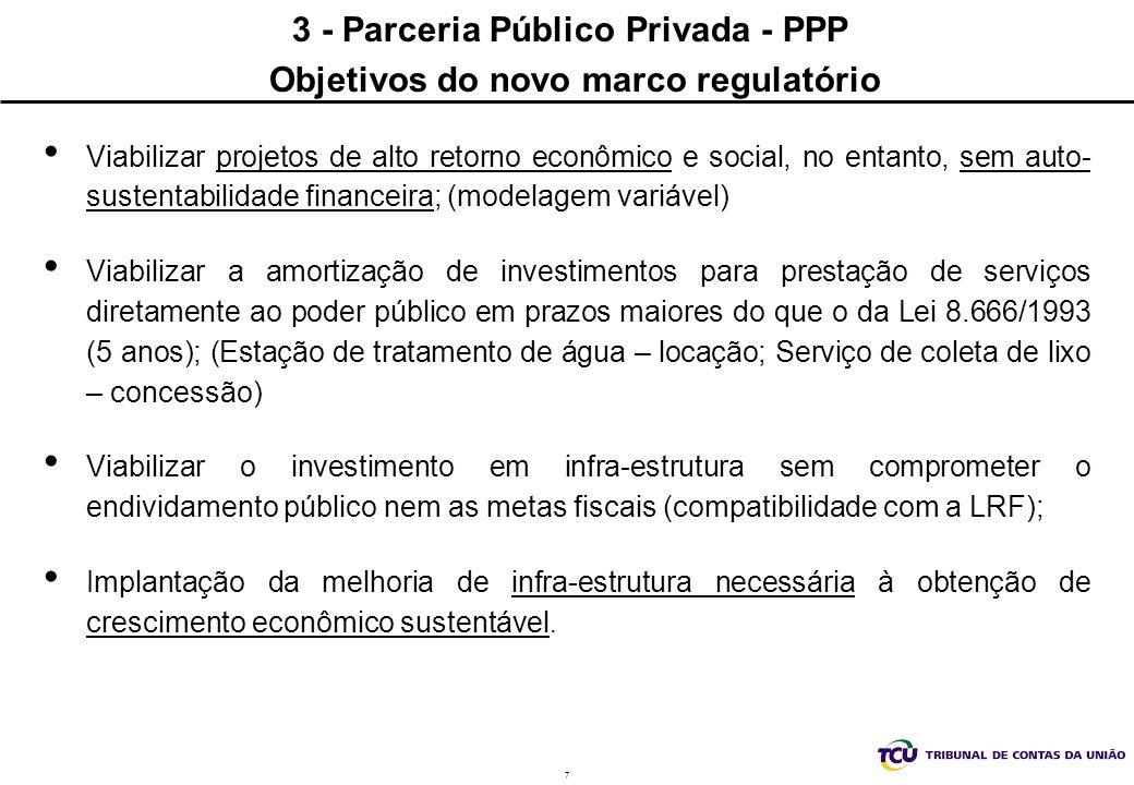 7 3 - Parceria Público Privada - PPP Objetivos do novo marco regulatório Viabilizar projetos de alto retorno econômico e social, no entanto, sem auto- sustentabilidade financeira; (modelagem variável) Viabilizar a amortização de investimentos para prestação de serviços diretamente ao poder público em prazos maiores do que o da Lei 8.666/1993 (5 anos); (Estação de tratamento de água – locação; Serviço de coleta de lixo – concessão) Viabilizar o investimento em infra-estrutura sem comprometer o endividamento público nem as metas fiscais (compatibilidade com a LRF); Implantação da melhoria de infra-estrutura necessária à obtenção de crescimento econômico sustentável.
