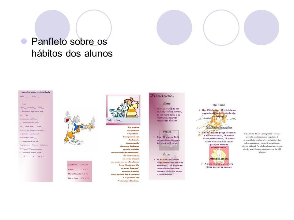 Panfleto sobre os hábitos dos alunos
