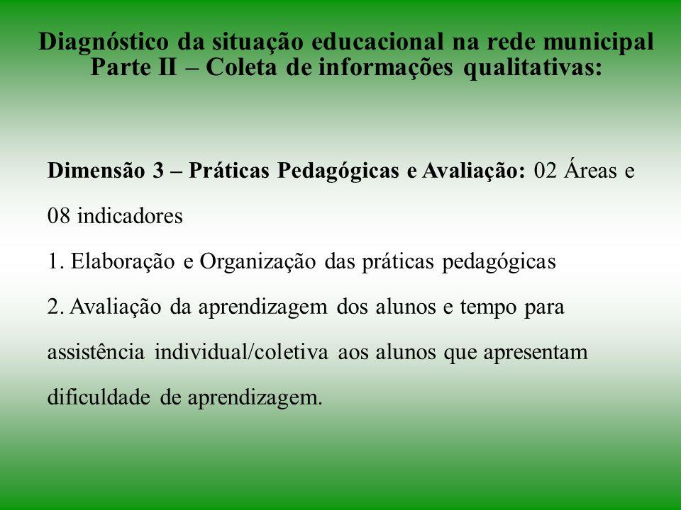 Diagnóstico da situação educacional na rede municipal Parte II – Coleta de informações qualitativas: Dimensão 3 – Práticas Pedagógicas e Avaliação: 02 Áreas e 08 indicadores 1.