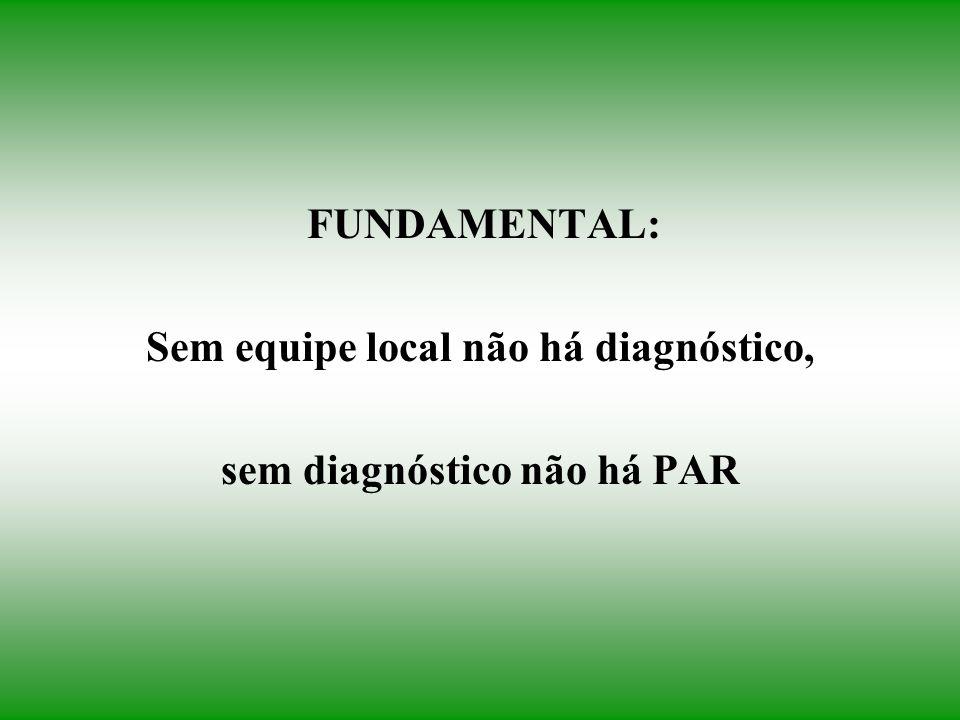 FUNDAMENTAL: Sem equipe local não há diagnóstico, sem diagnóstico não há PAR