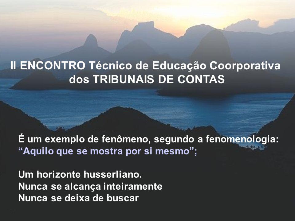 II ENCONTRO Técnico de Educação Coorporativa dos TRIBUNAIS DE CONTAS É um exemplo de fenômeno, segundo a fenomenologia: Aquilo que se mostra por si mesmo; Um horizonte husserliano.
