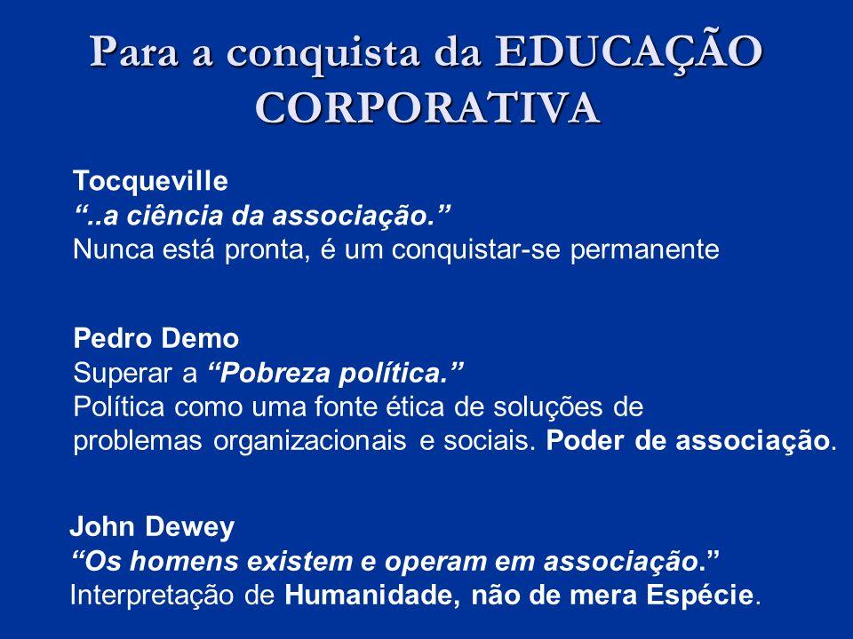 Para a conquista da EDUCAÇÃO CORPORATIVA Tocqueville..a ciência da associação.
