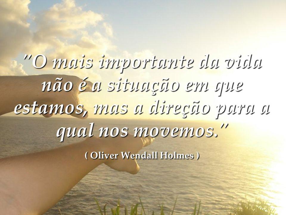 O mais importante da vida não é a situação em que estamos, mas a direção para a qual nos movemos. ( Oliver Wendall Holmes )