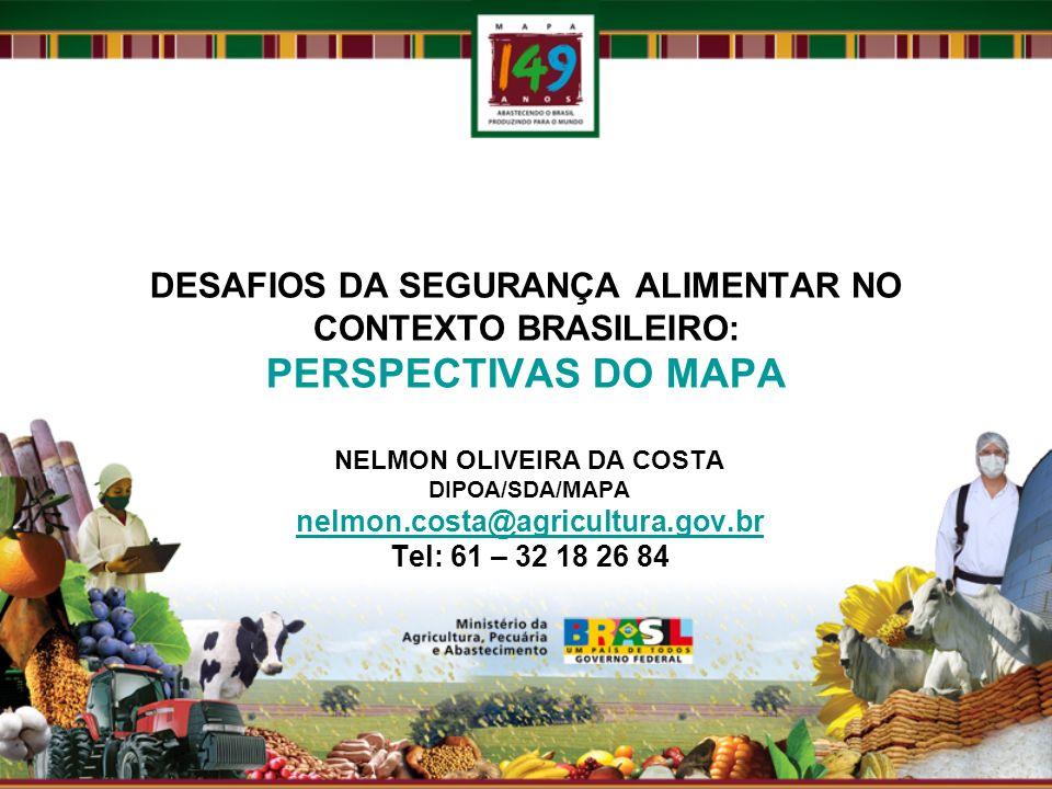 DESAFIOS DA SEGURANÇA ALIMENTAR NO CONTEXTO BRASILEIRO: PERSPECTIVAS DO MAPA NELMON OLIVEIRA DA COSTA DIPOA/SDA/MAPA nelmon.costa@agricultura.gov.br Tel: 61 – 32 18 26 84