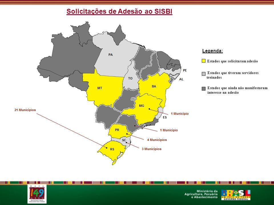 Estados que ainda não manifestaram interesse na adesão Estados que tiveram servidores treinados Estados que solicitaram adesão Legenda: Solicitações de Adesão ao SISBI