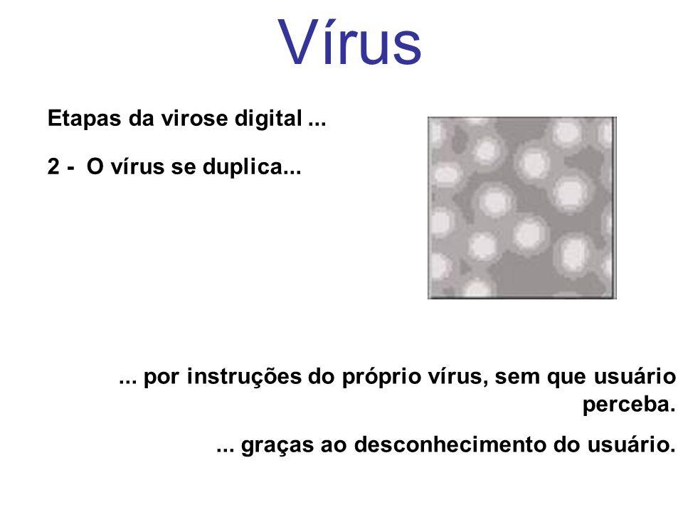 Vírus Etapas da virose digital... 2 - O vírus se duplica...... por instruções do próprio vírus, sem que usuário perceba.... graças ao desconhecimento