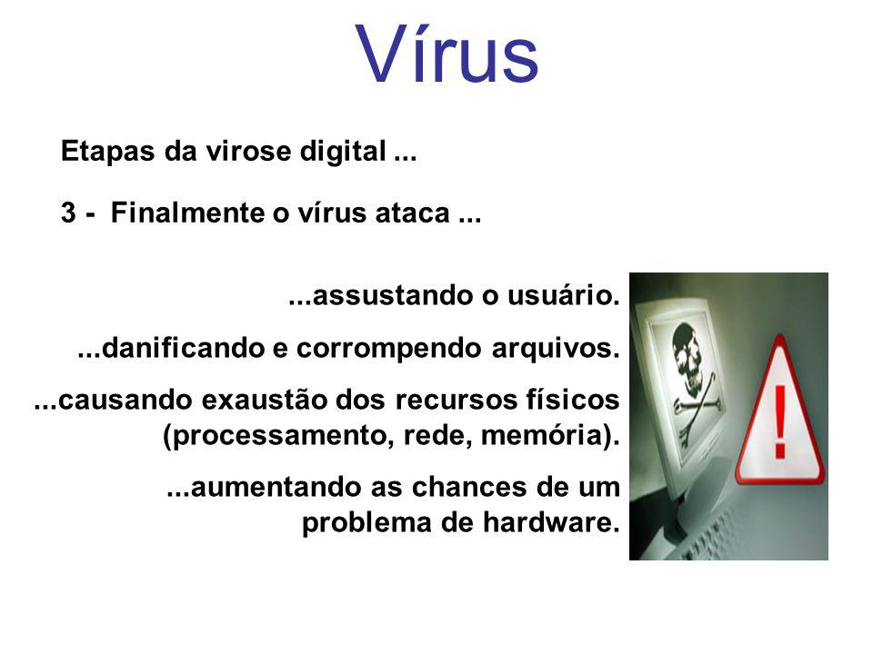 Vírus Etapas da virose digital... 3 - Finalmente o vírus ataca......assustando o usuário....danificando e corrompendo arquivos....causando exaustão do