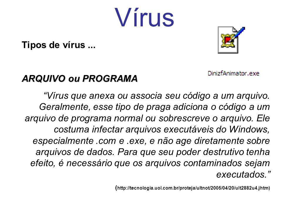 Vírus Tipos de vírus... ARQUIVO ou PROGRAMA Vírus que anexa ou associa seu código a um arquivo. Geralmente, esse tipo de praga adiciona o código a um