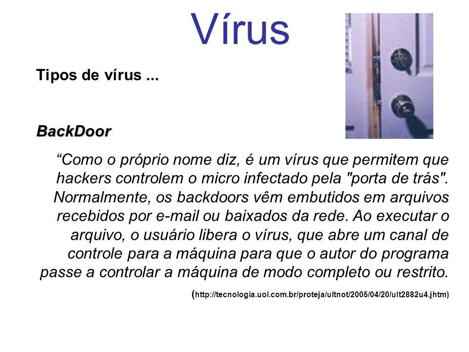 Vírus Tipos de vírus...BackDoor Como o próprio nome diz, é um vírus que permitem que hackers controlem o micro infectado pela