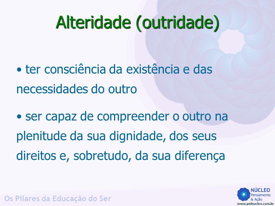 www.pnlnucleo.com.br Os Pilares da Educação do Ser Alteridade (outridade) ter consciência da existência e das necessidades do outro ser capaz de compr