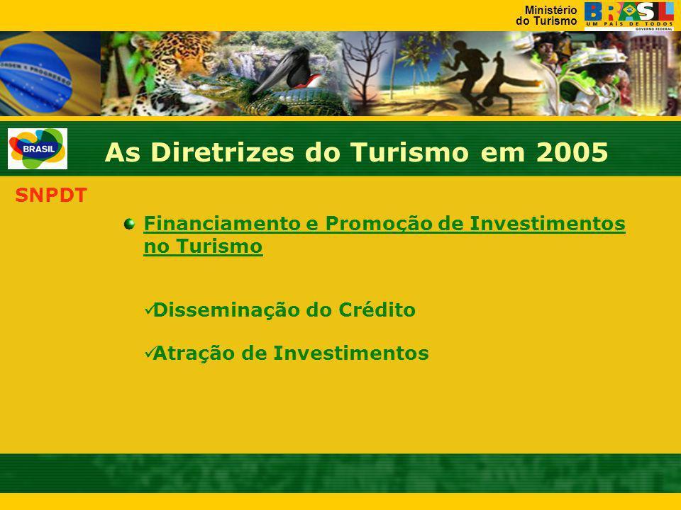 Ministério do Turismo As Diretrizes do Turismo em 2005 SNPDT PRODETUR JK Iniciados os preparativos em 2004 PROECOTUR Preparação da Fase II em curso Co