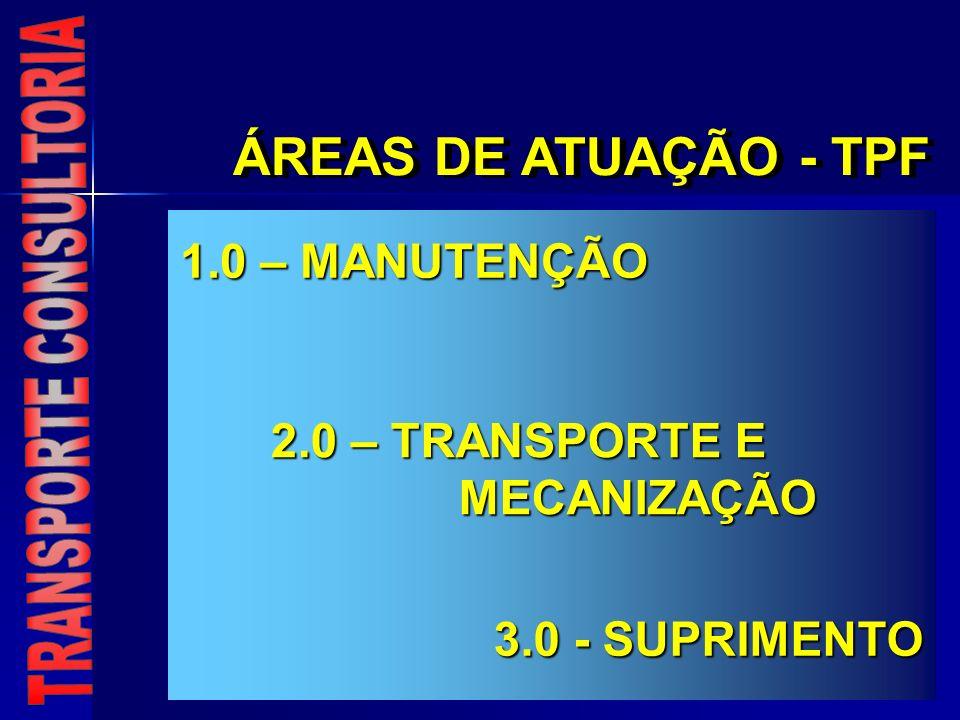 ÁREAS DE ATUAÇÃO - TPF 1.0 – MANUTENÇÃO 2.0 – TRANSPORTE E MECANIZAÇÃO 3.0 - SUPRIMENTO