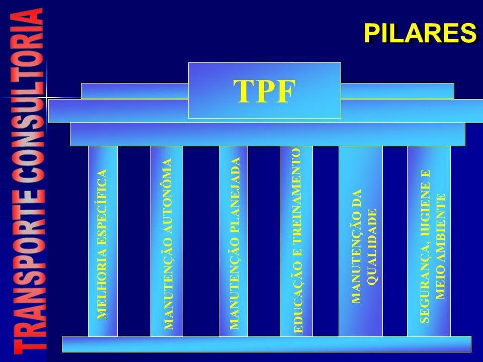 PILARES MELHORIA ESPECÍFICA MANUTENÇÃO PLANEJADA MANUTENÇÃO AUTONÔMA MANUTENÇÃO DA QUALIDADE SEGURANÇA, HIGIENE E MEIO AMBIENTE EDUCAÇÃO E TREINAMENTO