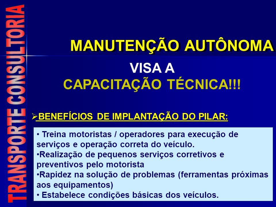 MANUTENÇÃO AUTÔNOMA VISA A CAPACITAÇÃO TÉCNICA!!! BENEFÍCIOS DE IMPLANTAÇÃO DO PILAR: BENEFÍCIOS DE IMPLANTAÇÃO DO PILAR: Treina motoristas / operador