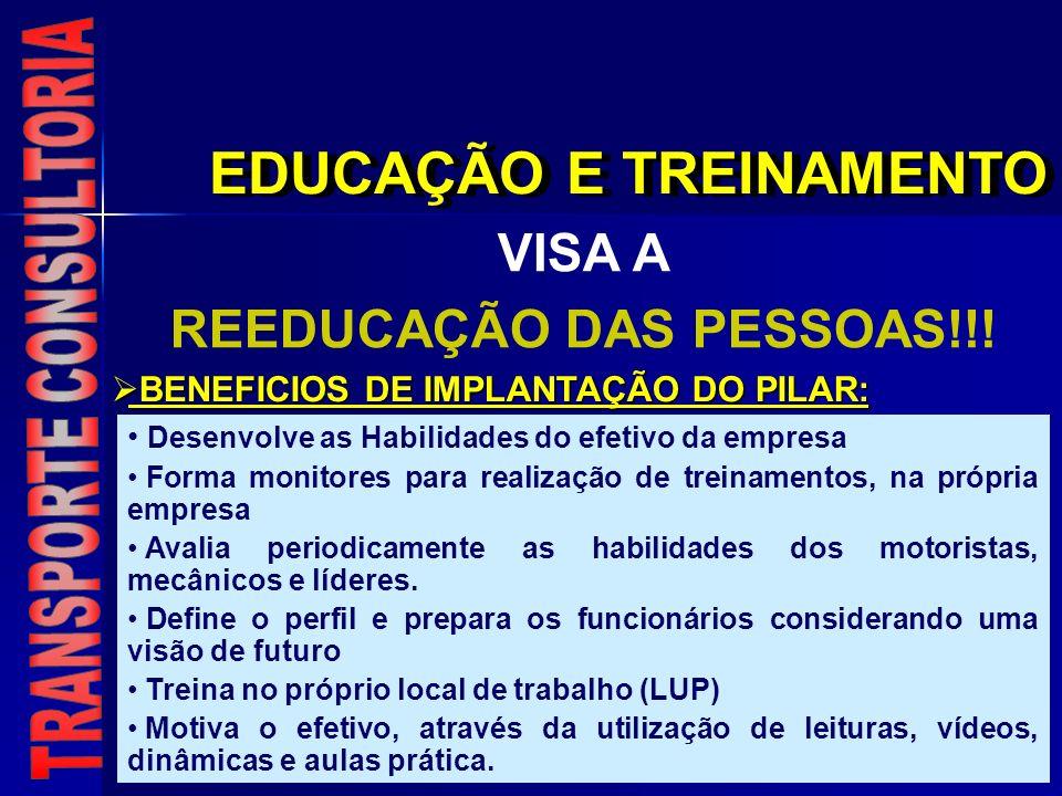 EDUCAÇÃO E TREINAMENTO VISA A REEDUCAÇÃO DAS PESSOAS!!! Desenvolve as Habilidades do efetivo da empresa Forma monitores para realização de treinamento