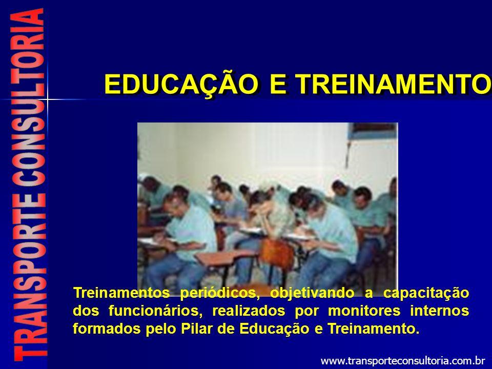 EDUCAÇÃO E TREINAMENTO Treinamentos periódicos, objetivando a capacitação dos funcionários, realizados por monitores internos formados pelo Pilar de E