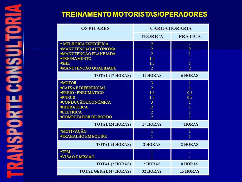 OS PILARESCARGA HORÁRIA TEÓRICAPRÁTICA MELHORIA ESPECÍFICA MANUTENÇÃO AUTÔNOMA MANUTENÇÃO PLANEJADA TREINAMENTO SHE MANUTENÇÃO QUALIDADE 2 1,5 2 -21-1