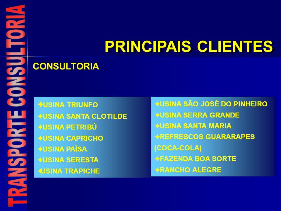 PRINCIPAIS CLIENTES COCA-COLA / MG COCA-COLA / PR COCA-COLA / SE ANDORINHA TRANSPORTE / SP AUREATUR / SP AÇUCAREIRA STª ROSA / SP AUT.
