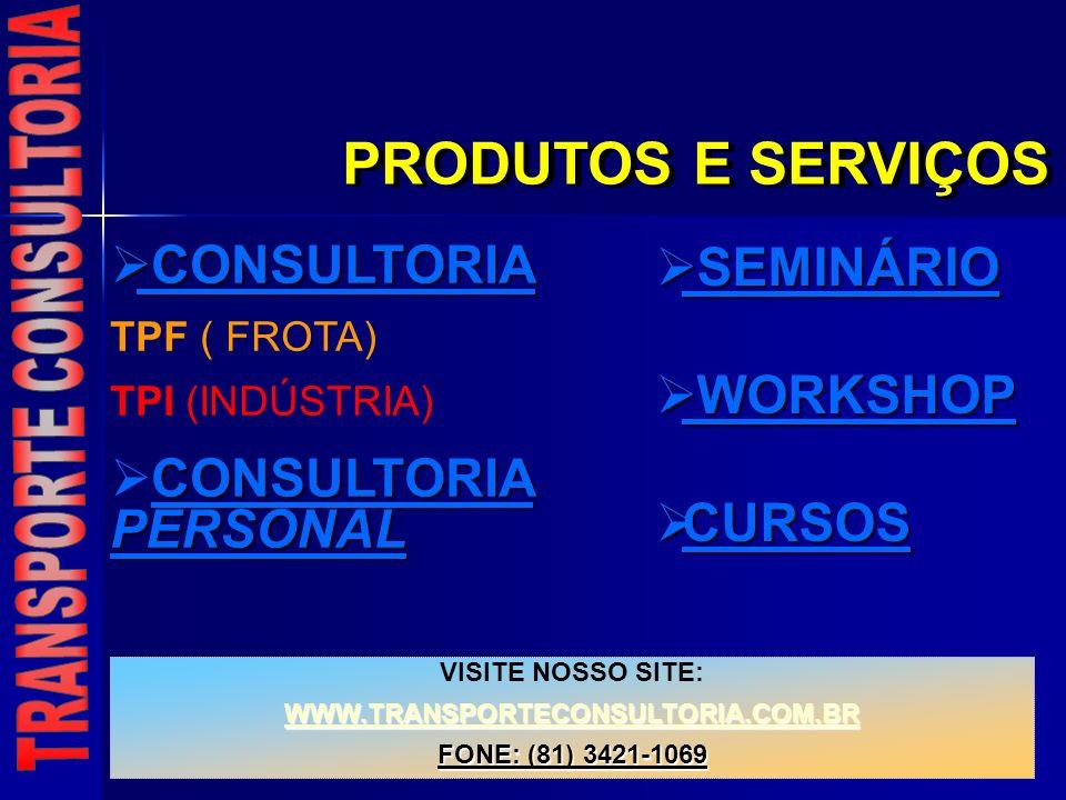 PRODUTOS E SERVIÇOS VISITE NOSSO SITE: WWW.TRANSPORTECONSULTORIA.COM.BR FONE: (81) 3421-1069 CONSULTORIA CONSULTORIA TPF ( FROTA) TPI (INDÚSTRIA) CONS