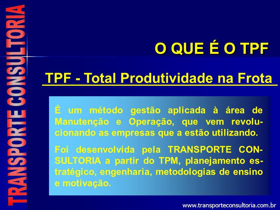 TPF - Total Produtividade na Frota É um método gestão aplicada à área de Manutenção e Operação, que vem revolu- cionando as empresas que a estão utili