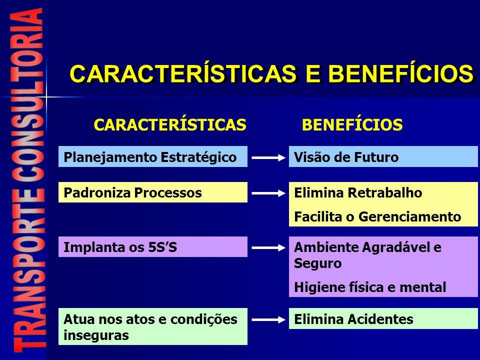 CARACTERÍSTICAS E BENEFÍCIOS CARACTERÍSTICASBENEFÍCIOS Planejamento EstratégicoVisão de Futuro Padroniza ProcessosElimina Retrabalho Facilita o Gerenc