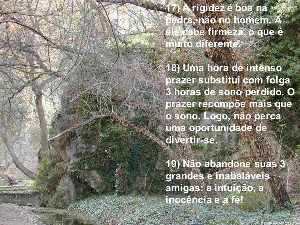 17) A rigidez é boa na pedra, não no homem.A ele cabe firmeza, o que é muito diferente.