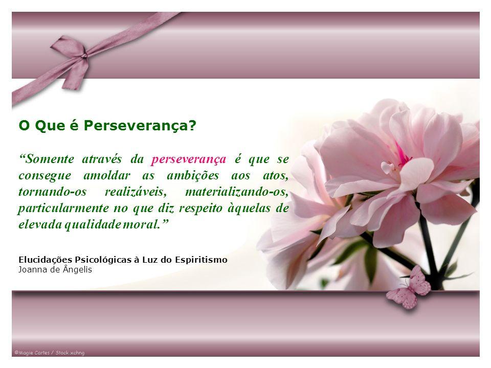 O Que é Perseverança? Somente através da perseverança é que se consegue amoldar as ambições aos atos, tornando-os realizáveis, materializando-os, part