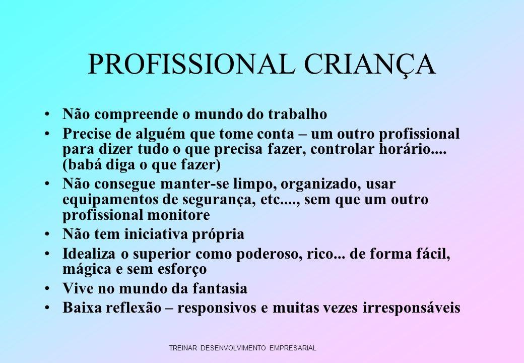 TREINAR DESENVOLVIMENTO EMPRESARIAL PROFISSIONAL CRIANÇA Não compreende o mundo do trabalho Precise de alguém que tome conta – um outro profissional p