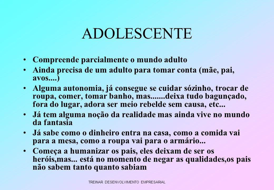 TREINAR DESENVOLVIMENTO EMPRESARIAL ADOLESCENTE Compreende parcialmente o mundo adulto Ainda precisa de um adulto para tomar conta (mãe, pai, avos....