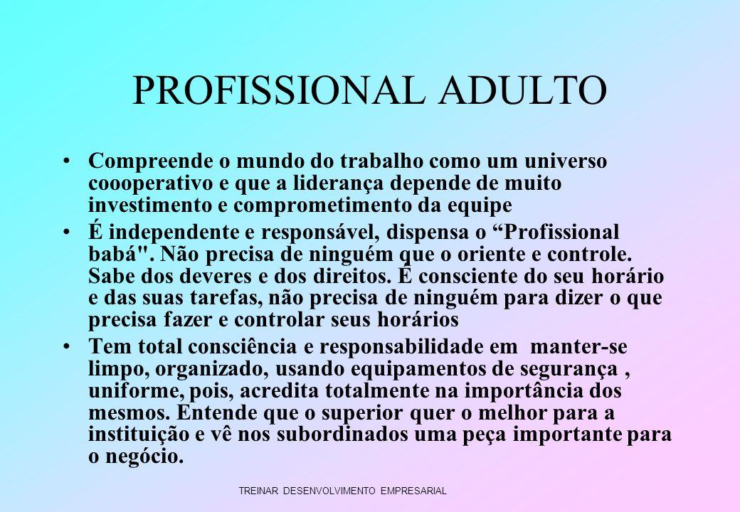 TREINAR DESENVOLVIMENTO EMPRESARIAL PROFISSIONAL ADULTO Compreende o mundo do trabalho como um universo coooperativo e que a liderança depende de muit