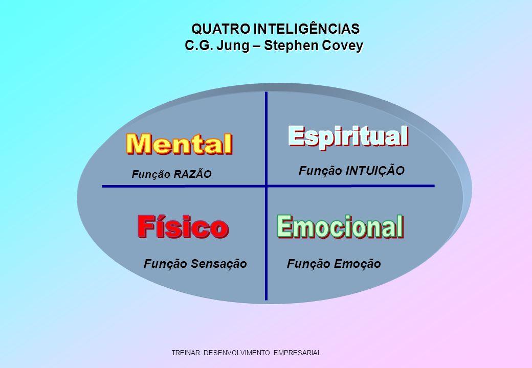 TREINAR DESENVOLVIMENTO EMPRESARIAL QUATRO INTELIGÊNCIAS QUATRO INTELIGÊNCIAS C.G. Jung – Stephen Covey Função RAZÃO Função Sensação Função INTUIÇÃO F