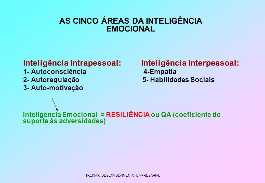 TREINAR DESENVOLVIMENTO EMPRESARIAL Inteligência Intrapessoal: Inteligência Interpessoal: 1- Autoconsciência 4-Empatia 2- Autoregulação 5- Habilidades