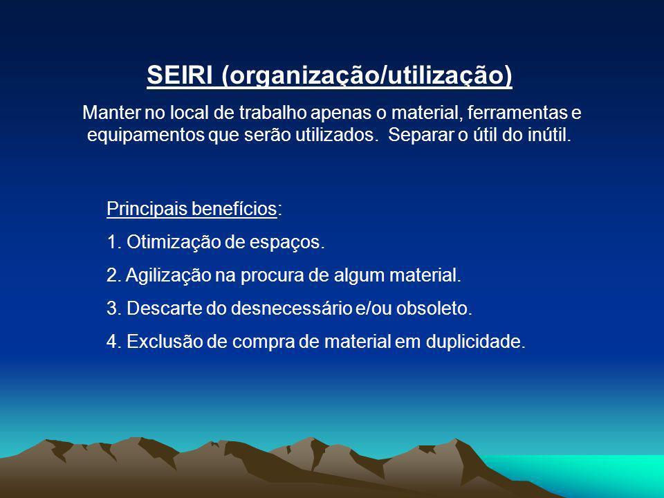 SEIRI (organização/utilização) Manter no local de trabalho apenas o material, ferramentas e equipamentos que serão utilizados. Separar o útil do inúti