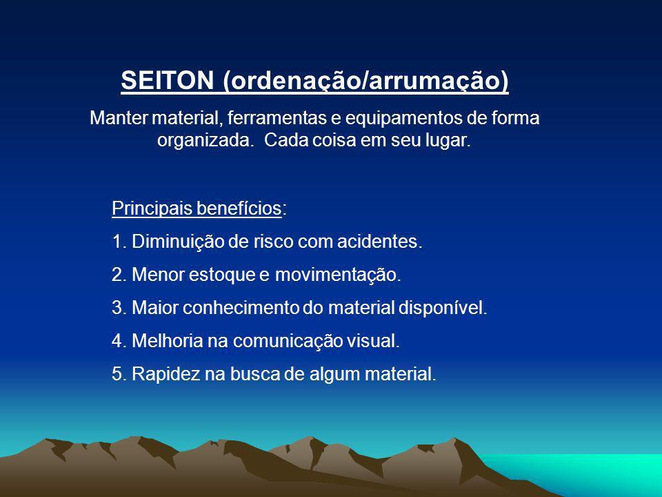 SEITON (ordenação/arrumação) Manter material, ferramentas e equipamentos de forma organizada. Cada coisa em seu lugar. Principais benefícios: 1. Dimin