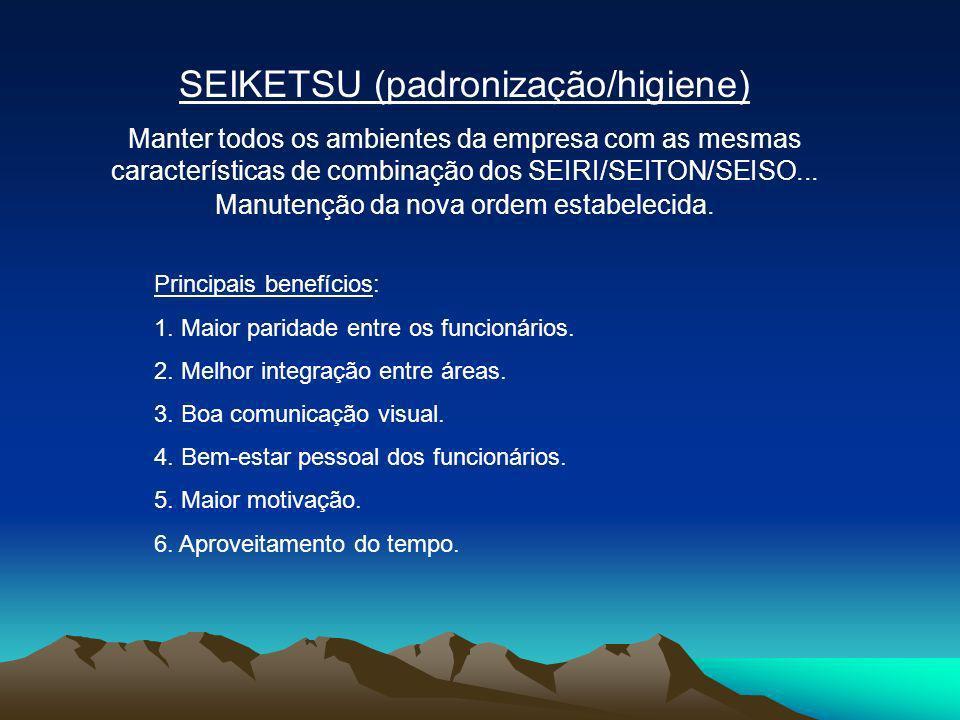 SEIKETSU (padronização/higiene) Manter todos os ambientes da empresa com as mesmas características de combinação dos SEIRI/SEITON/SEISO... Manutenção