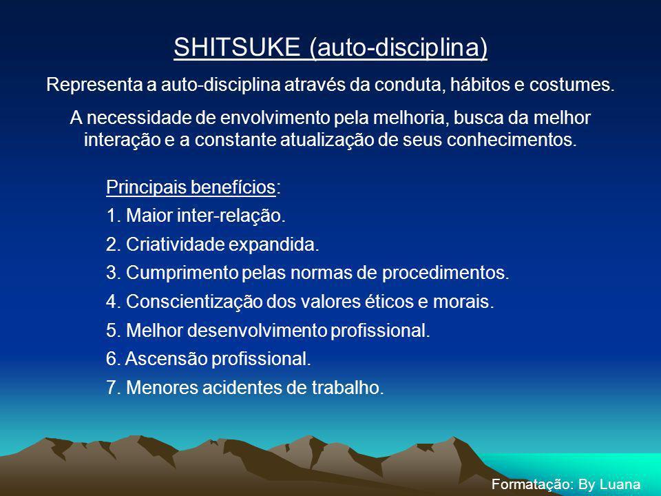 SHITSUKE (auto-disciplina) Representa a auto-disciplina através da conduta, hábitos e costumes. A necessidade de envolvimento pela melhoria, busca da