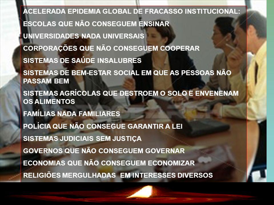 3 ACELERADA EPIDEMIA GLOBAL DE FRACASSO INSTITUCIONAL: ESCOLAS QUE NÃO CONSEGUEM ENSINAR UNIVERSIDADES NADA UNIVERSAIS CORPORAÇÕES QUE NÃO CONSEGUEM C
