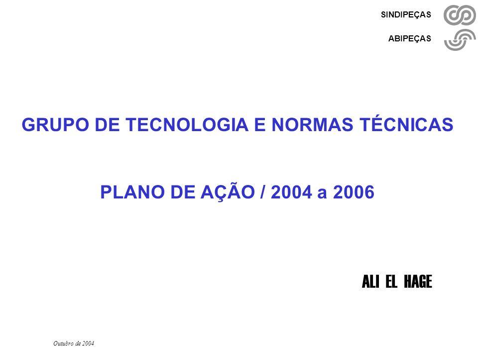 Grupo de Tecnologia - 2004-2006 Ali El Hage - Setembro/ 2004 - pág. 1/27 SINDIPEÇAS ABIPEÇAS GRUPO DE TECNOLOGIA E NORMAS TÉCNICAS PLANO DE AÇÃO / 200