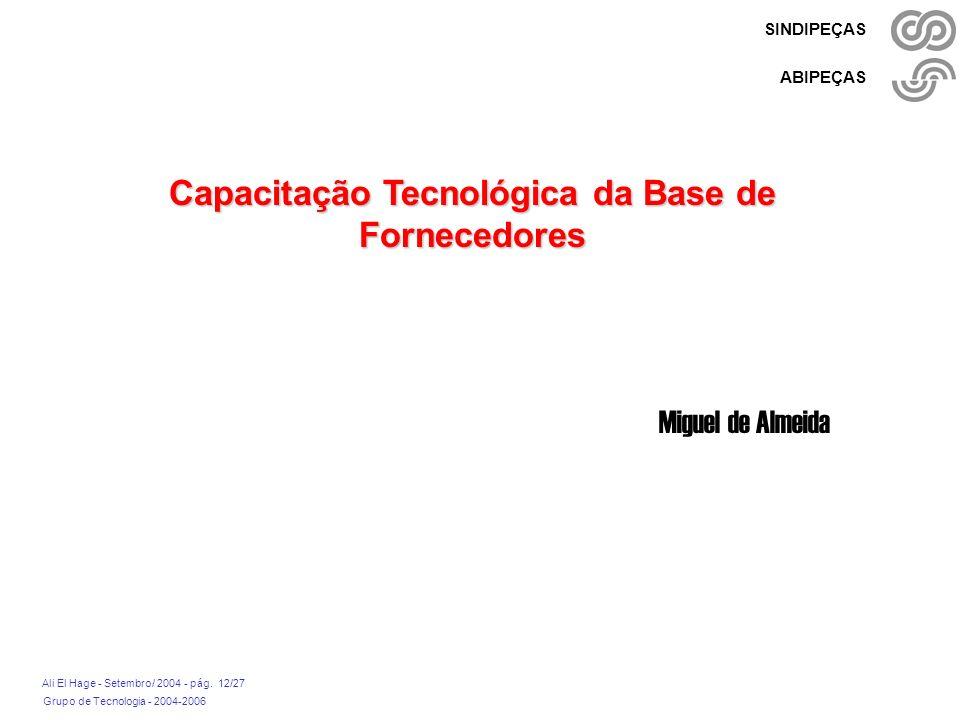 Grupo de Tecnologia - 2004-2006 Ali El Hage - Setembro/ 2004 - pág. 12/27 SINDIPEÇAS ABIPEÇAS Capacitação Tecnológica da Base de Fornecedores Miguel d