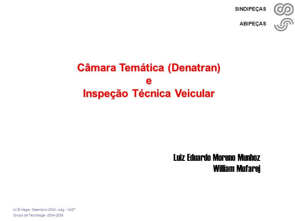 Grupo de Tecnologia - 2004-2006 Ali El Hage - Setembro/ 2004 - pág. 14/27 SINDIPEÇAS ABIPEÇAS Câmara Temática (Denatran) e Inspeção Técnica Veicular L
