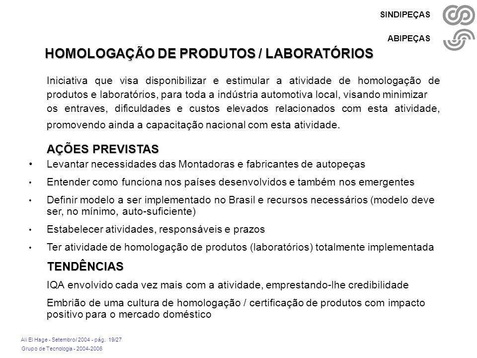 Grupo de Tecnologia - 2004-2006 Ali El Hage - Setembro/ 2004 - pág. 19/27 SINDIPEÇAS ABIPEÇAS HOMOLOGAÇÃO DE PRODUTOS / LABORATÓRIOS Iniciativa que vi