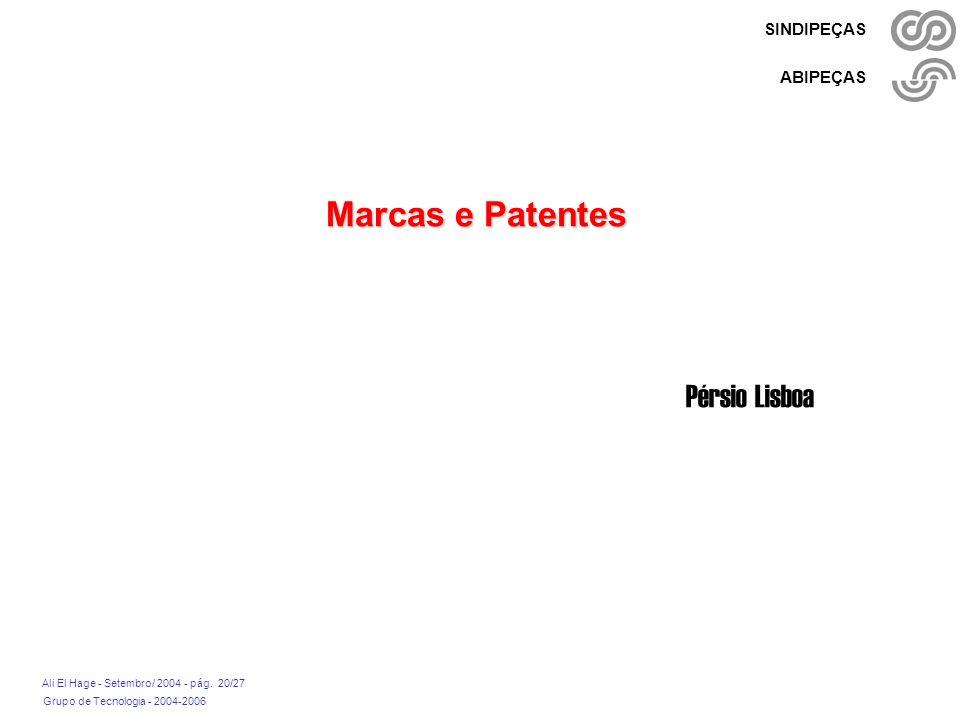Grupo de Tecnologia - 2004-2006 Ali El Hage - Setembro/ 2004 - pág. 20/27 SINDIPEÇAS ABIPEÇAS Marcas e Patentes Pérsio Lisboa