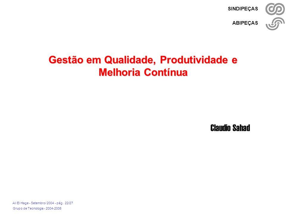 Grupo de Tecnologia - 2004-2006 Ali El Hage - Setembro/ 2004 - pág. 22/27 SINDIPEÇAS ABIPEÇAS Gestão em Qualidade, Produtividade e Melhoria Contínua C