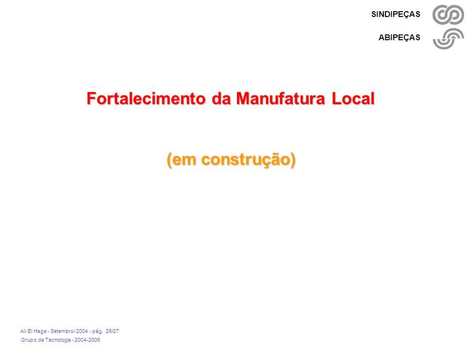 Grupo de Tecnologia - 2004-2006 Ali El Hage - Setembro/ 2004 - pág. 26/27 SINDIPEÇAS ABIPEÇAS Fortalecimento da Manufatura Local (em construção)