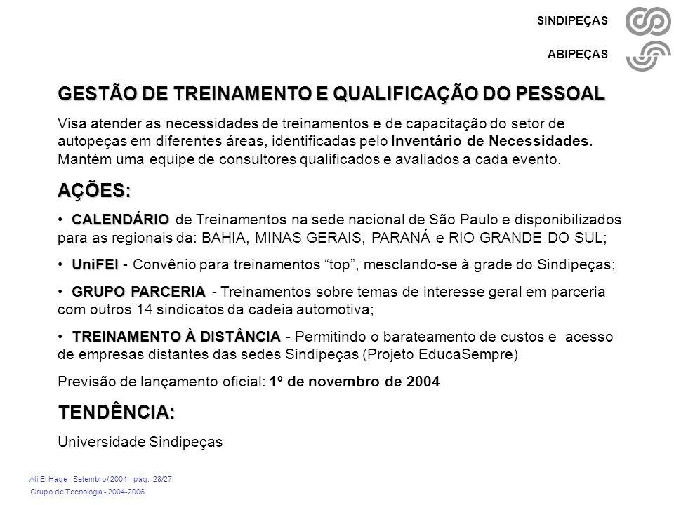Grupo de Tecnologia - 2004-2006 Ali El Hage - Setembro/ 2004 - pág. 28/27 SINDIPEÇAS ABIPEÇAS GESTÃO DE TREINAMENTO E QUALIFICAÇÃO DO PESSOAL Visa ate